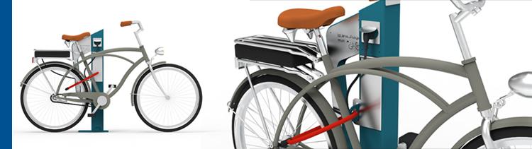 La borne de recharge E-Park pour 2 vélos à assistance électrique permet de sécuriser simultanément le cahrgeur et le vélo au même point