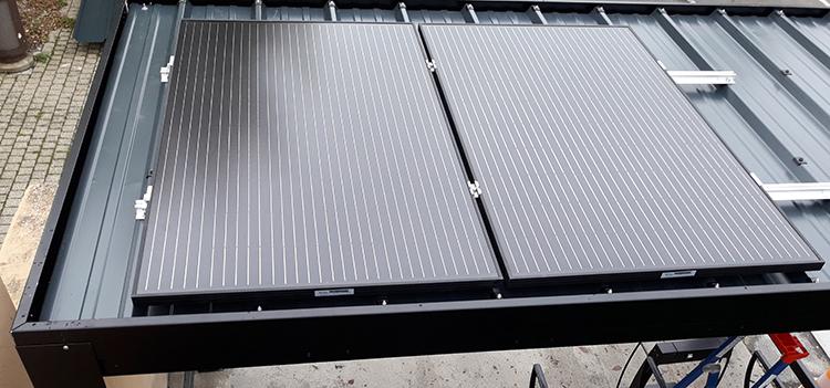 Toiture solaire sur un abri velo Pescara - Mairie de Le Rheu (35)